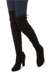 Jane Norman Black Pull On Thigh High Boots