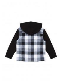 Younger Boys Check Hooded Shirt