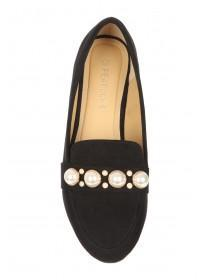 Womens Black Pearl Trim Loafers