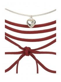 Womens Red Heart Necklace
