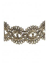 Womens Gold Metallic Lace Choker