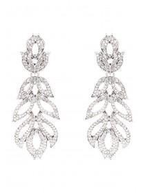 Womens Silver Drop Leaf Earrings
