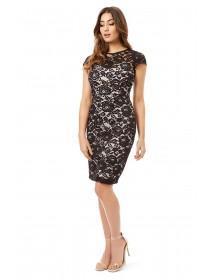 Jane Norman Black Scallop Lace Bodycon Dress