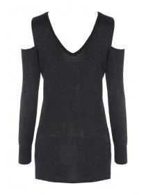 Womens Cold Shoulder Sparkle Jumper