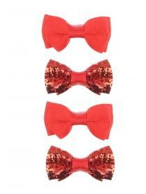 Girls Red 4pk Bow Hairclips