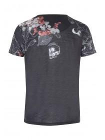 Mens Black Skull Stencil T-shirt