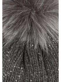 Womens Glitter Grey Pom Pom Hat