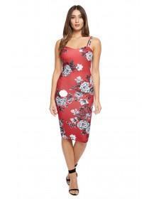 Jane Norman Red Floral Strappy Bodycon Dress