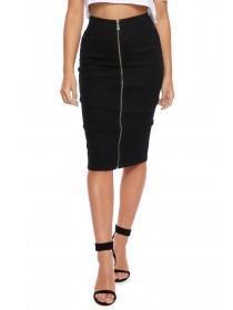 Jane Norman Black Zip Through Pencil Skirt