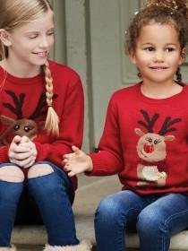 Older Girls Red Reindeer Jumper