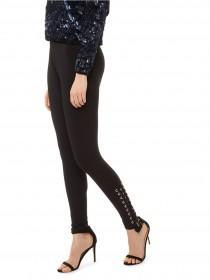 Jane Norman Black Tie Side Leggings