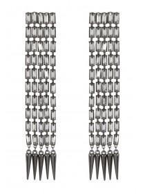 Womens Gunmetal Spike Earrings