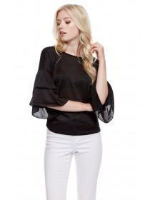 Jane Norman Black Frill Sleeve Jumper