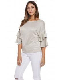 Jane Norman Silver Frill Sleeve Jumper