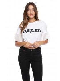 Jane Norman White Frill Hem Slogan T-Shirt