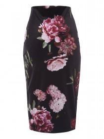 Jane Norman Floral Velvet Pencil Skirt