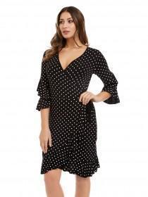 Jane Norman Monochrome Spot Frill Wrap Dress