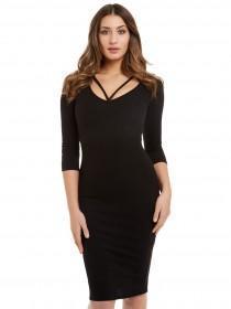 Jane Norman Black Rib Bodycon Dress