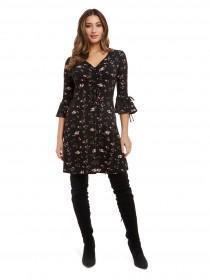 Jane Norman Black Floral Tea Dress