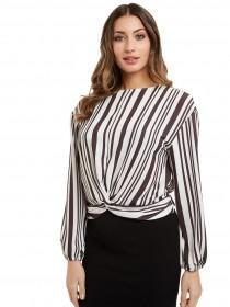 Jane Norman Cropped Knot Front Blouse