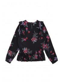 Older Girls Bird Print Ruffle Top