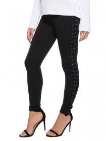 Jane Norman Black Lace Up Leggings