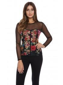 Jane Norman Floral Corset Mesh Top