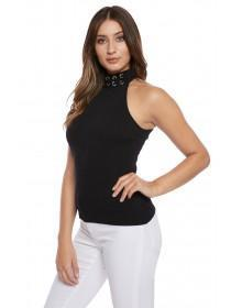 Jane Norman Black Lace Up Halterneck Top