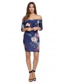 Jane Norman Floral Sweetheart Bardot Dress