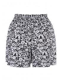 Womens Black Floral Viscose Shorts