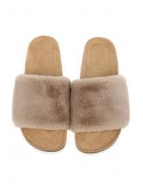 Womens Tan Faux Fur Slider Slippers