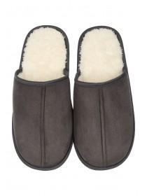 Mens Grey Mule Slipper