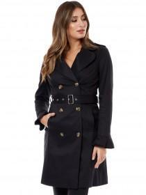 Jane Norman Black Frill Sleeve Trench Coat