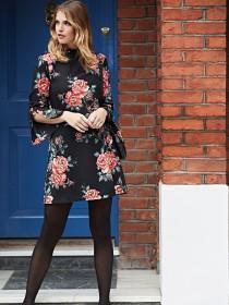 Womens Rose Print Tunic Dress