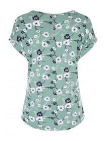 Womens Spearmint Floral Zip Back T-Shirt