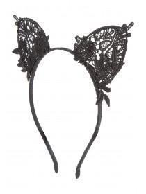 Womens Black Lace Cat Ear Hairband