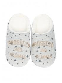 Womens Grey Slogan Mule Slippers
