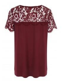 Womens Red Jersey & Lace Maternity Top