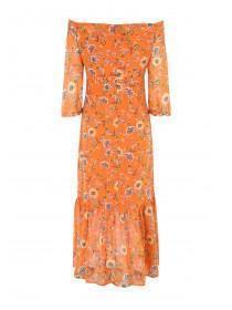 Womens Orange Button Through Maxi Dress