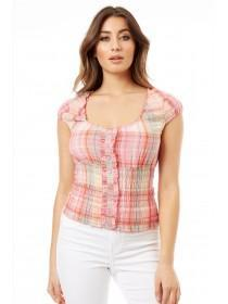 Jane Norman Multicolour Check Gypsy Top