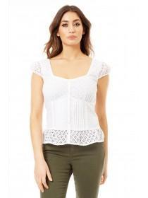 Jane Norman White Button-Up Top