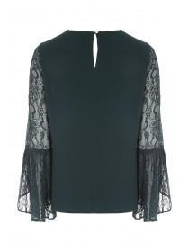 Womens Green Lace Sleeve Top