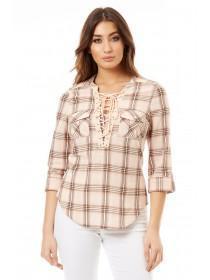 Jane Norman Pale Pink Lace Up Check Shirt
