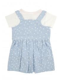 Baby Girls Dungaree Dress Set