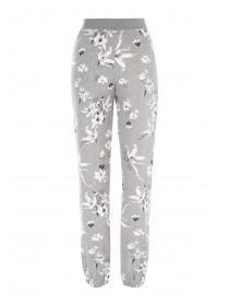 Womens Grey Floral Lounge Trousers