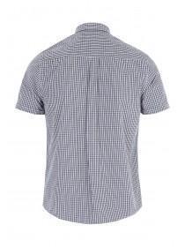 Mens Navy Short Sleeve Check Shirt