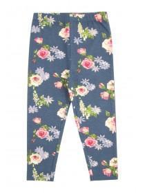 Younger Girls Blue Floral Leggings