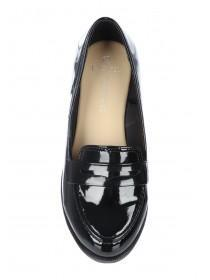 Womens Black Wide Fit Loafer Shoes