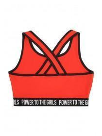 Older Girls Red Slogan Crop Top