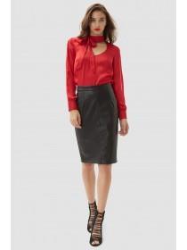Jane Norman Black PU Pencil Skirt